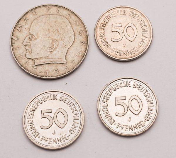 2 Mark 1874 und 3 x 50 Pfennig
