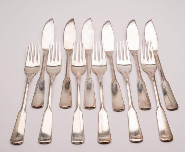 Auerhahn Fischbesteck 6 Personen 90er Silber