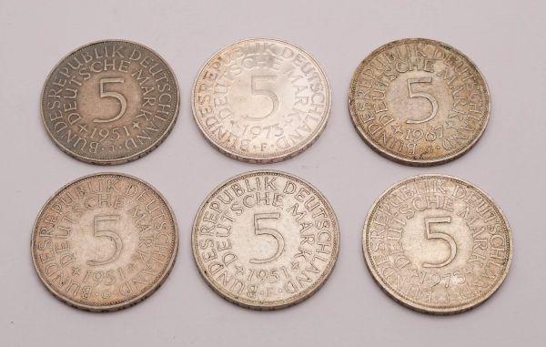 5 DM Umlauf-Münzen 6 Stück